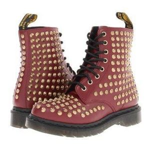 RARE NEW Dr Martens dark red gold spike boots